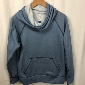 Lucy Blue Pullover Cowl Neck Hoodie Long Sleeve M